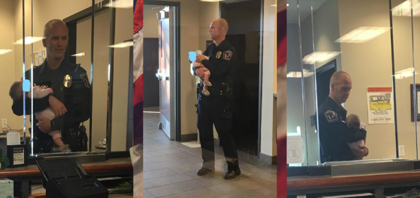 Police Officer Watches Over Children While Mother Files Domestic Violence Report